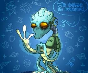 Alien cartoon vector design 02