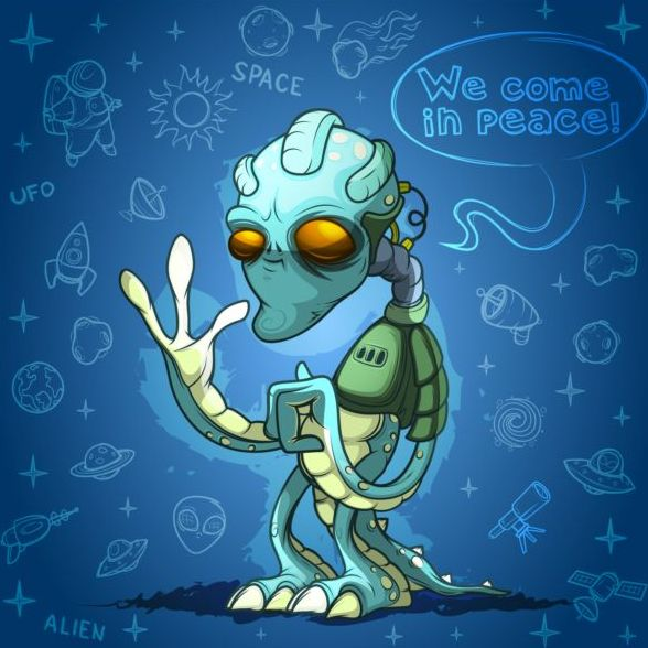 Alien cartoon vector design 02