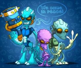 Alien cartoon vector design 04