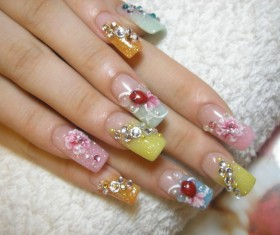 Animal nail painting flowers Stock Photo