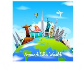 Around world travel design vector