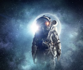 Astronaut in outer space Stock Photo 02