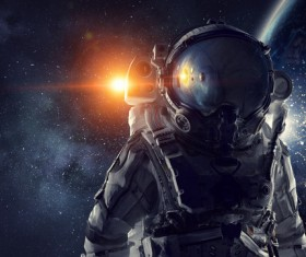 Astronaut in outer space Stock Photo 03