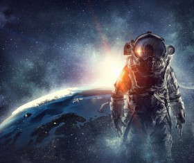 Astronaut in outer space Stock Photo 04