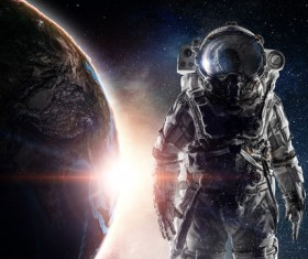 Astronaut in outer space Stock Photo 05