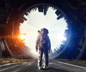 Astronaut in outer space Stock Photo 13