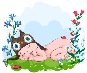 Baby sleeps sweetly in the hat owls on grass vector