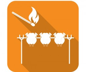 Barbecue chick matches icon