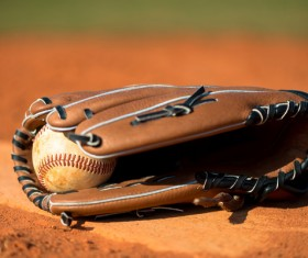 Baseball and Baseball Glove Stock Photo
