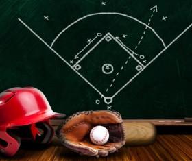 Baseball equipment and blackboard game plan Stock Photo