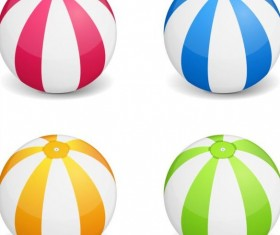 Beach balls colored vector material 01