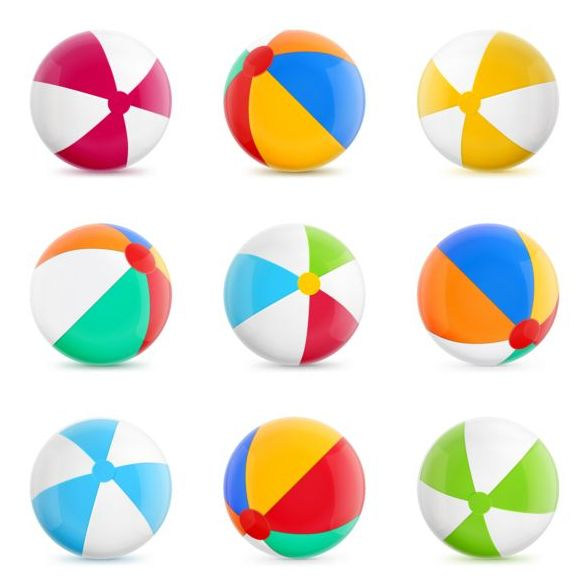 Beach balls colored vector material 03