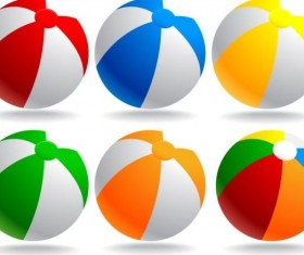 Beach balls colored vector material 04