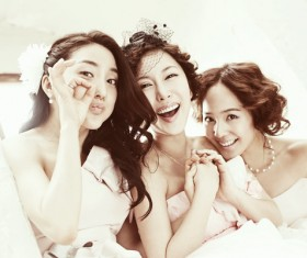 Beautiful bridesmaids Stock Photo