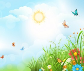 Beautiful flower with butterflies and spring background vector 01