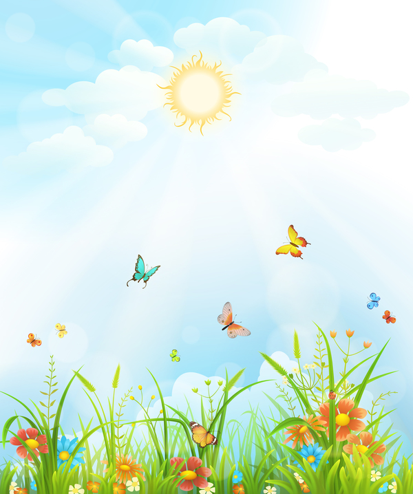 Beautiful flower with butterflies and spring background vector 02