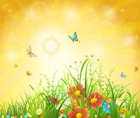 Beautiful flower with butterflies and spring background vector 03