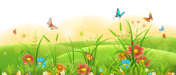 Beautiful flower with butterflies and spring background vector 04