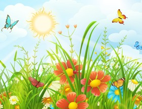 Beautiful flower with butterflies and spring background vector 05
