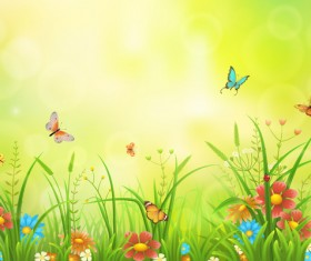 Beautiful flower with butterflies and spring background vector 06
