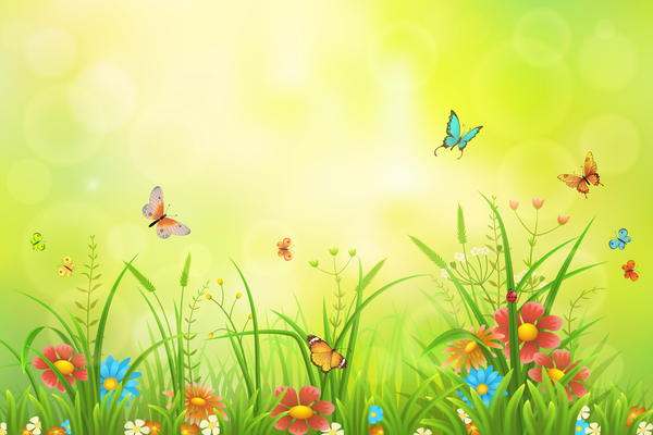Beautiful Flower With Butterflies And Spring Background Vector 07