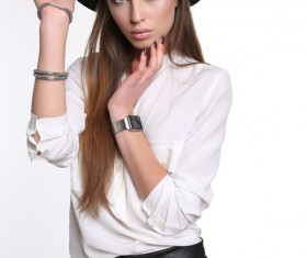 Beautiful woman with a cowboy hat Stock Photo