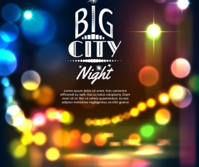Big city night landscape vector material 01