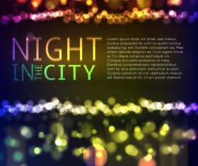 Big city night landscape vector material 02