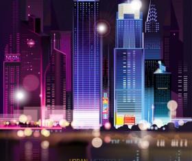 Big city night landscape vector material 04