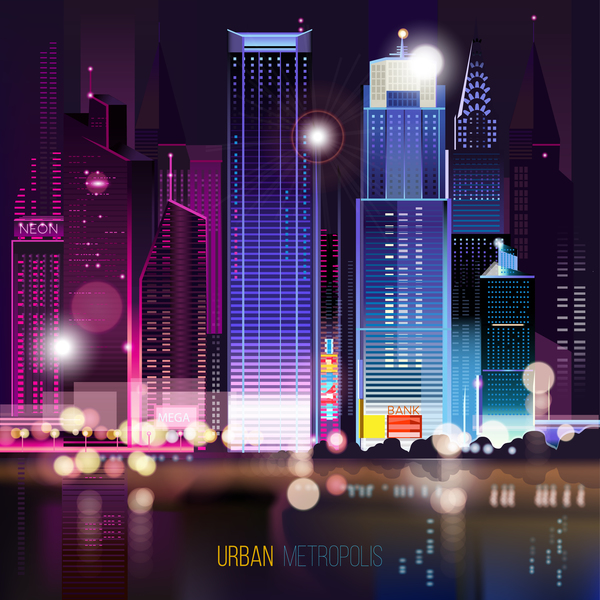 Big city night landscape vector material 04