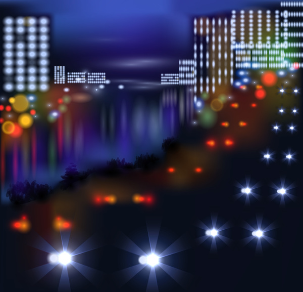Big city night landscape vector material 05
