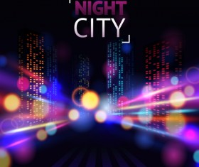Big city night landscape vector material 06