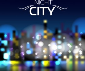Big city night landscape vector material 10