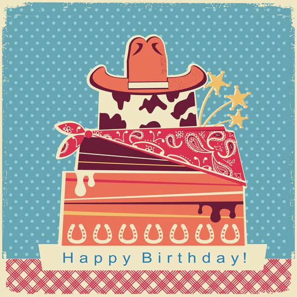Birthday color card with cake and hat vector
