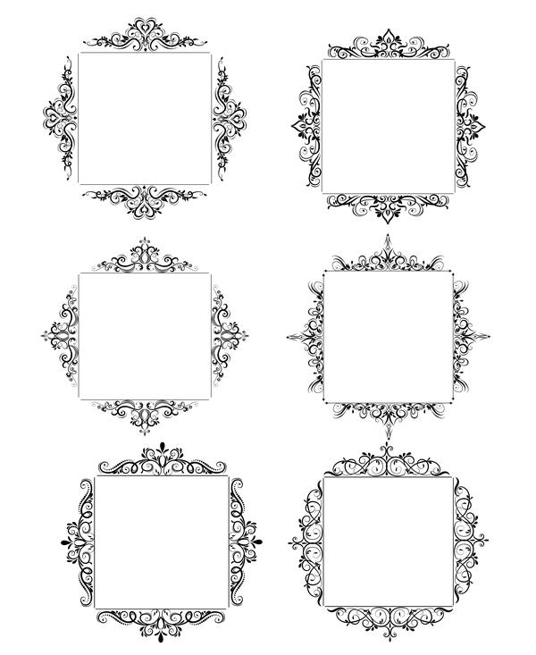 Black baroque decor frame retro vector 01