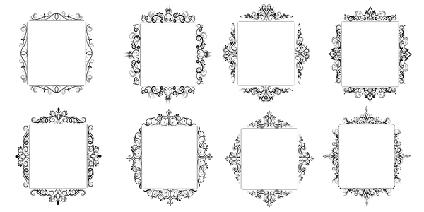 Black baroque decor frame retro vector 02 free download