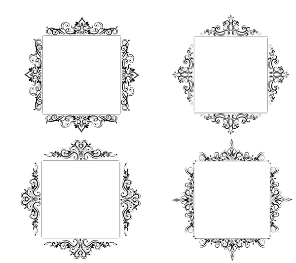 Black baroque decor frame retro vector 03 free download