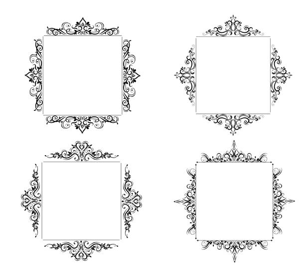 Black baroque decor frame retro vector 03