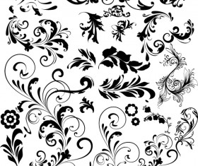 Black floral ornaments illustration vector 01