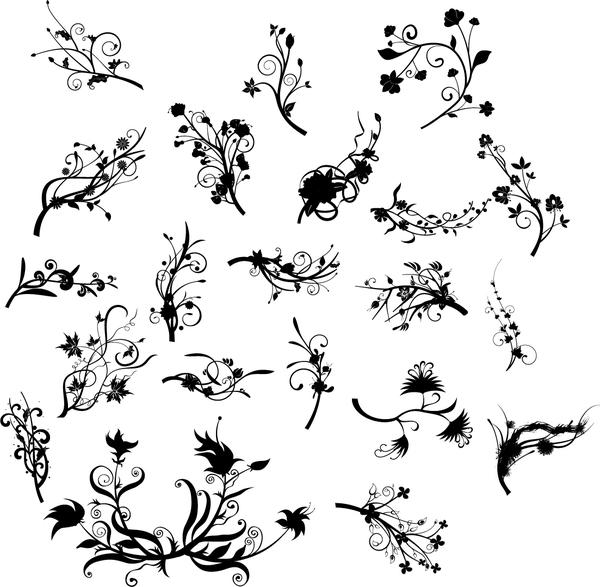 Black floral ornaments illustration vector 02
