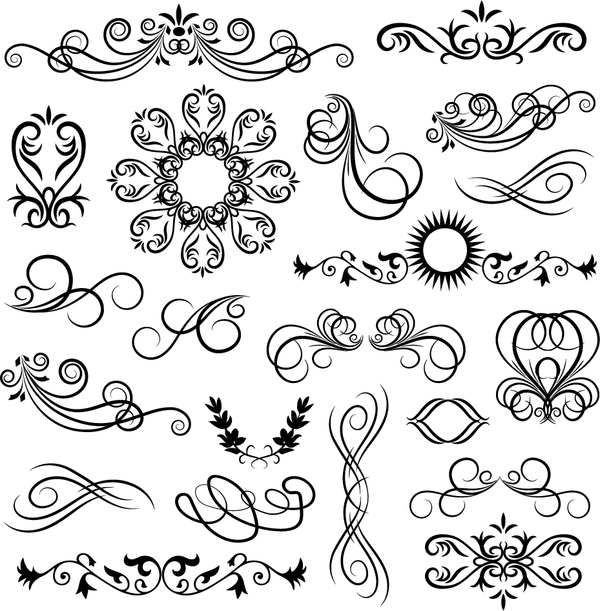 Black floral ornaments illustration vector 03
