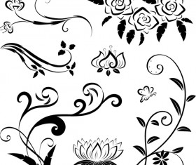 Black floral ornaments illustration vector 04