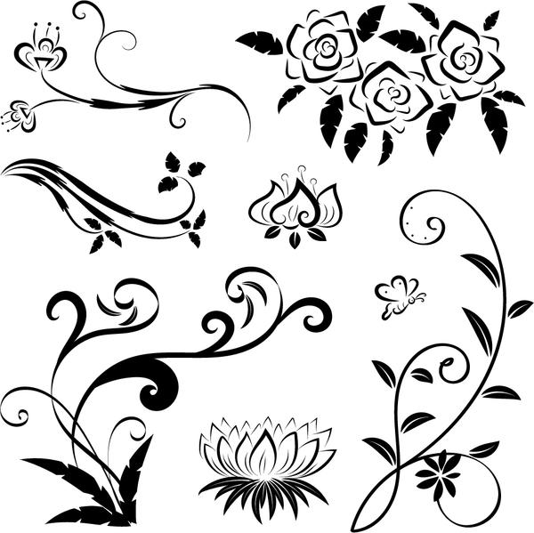 Black floral ornaments illustration vector 04
