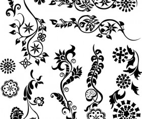 Black floral ornaments illustration vector 05