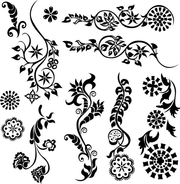 Black floral ornaments illustration vector 05