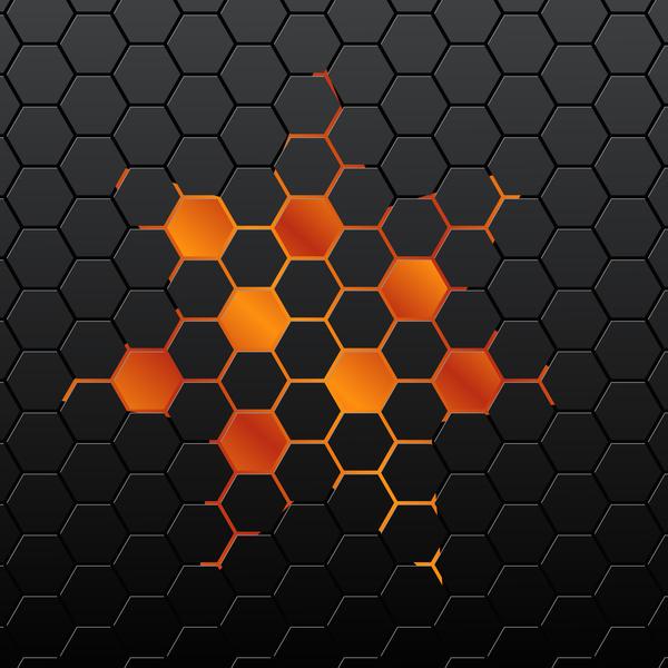 Black hexagon background vector