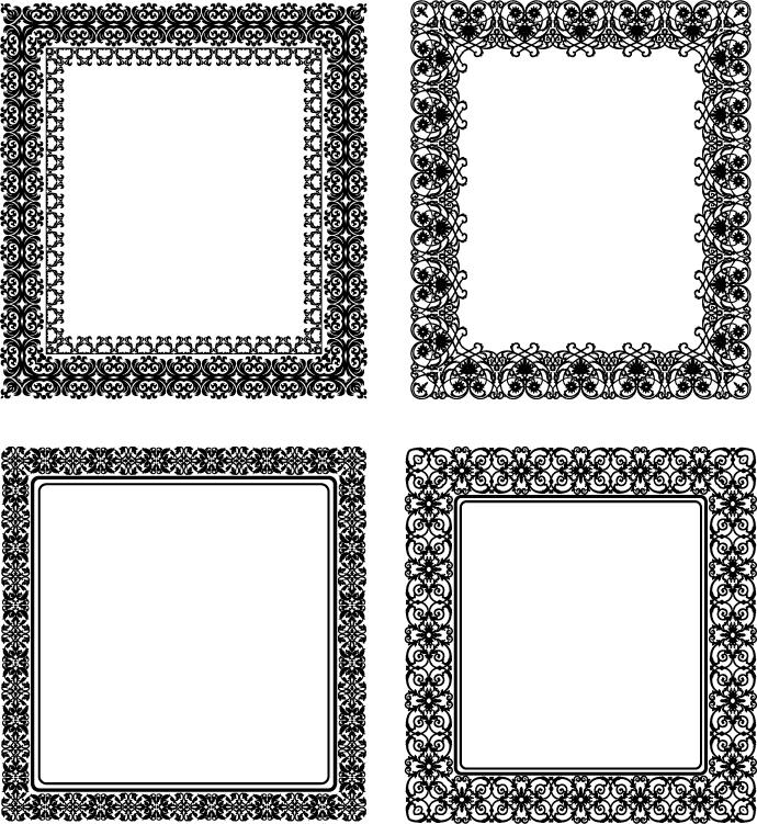Black lace frame vectors