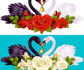 Black white swans with rose background vector 01