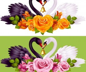 Black white swans with rose background vector 02