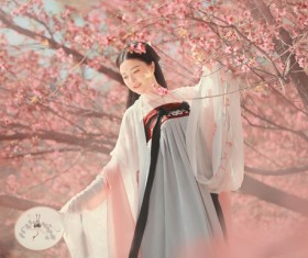 Blooming peach with classical women HD picture